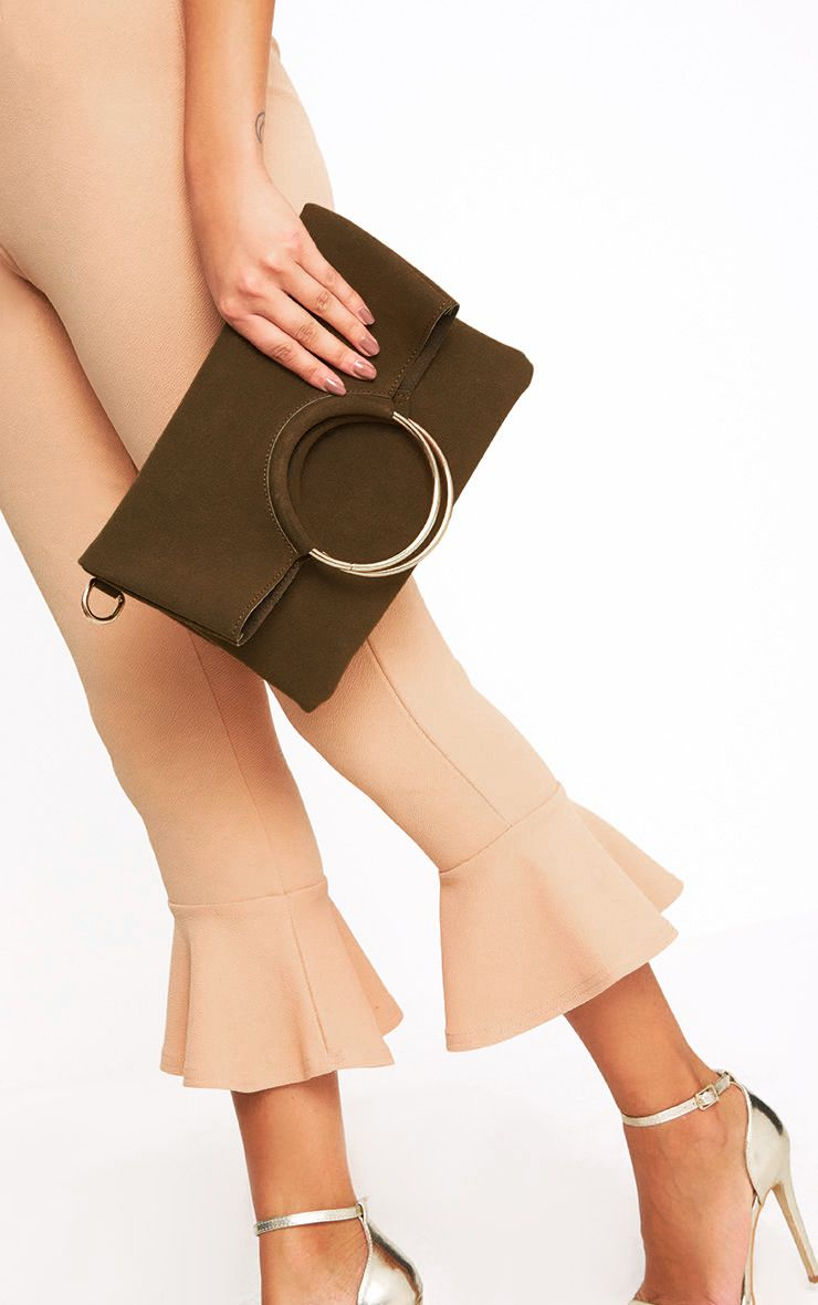 Khaki Ring Detail Fold Over Clutch