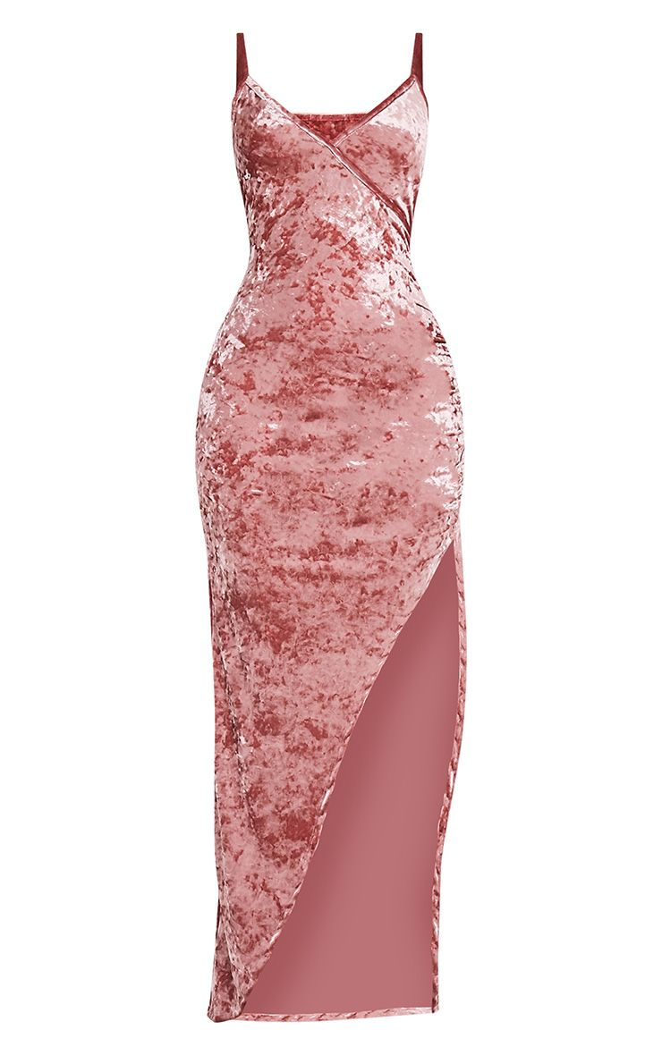 Sansia Pink Crushed Velvet Asymmetric Maxi Dress 3