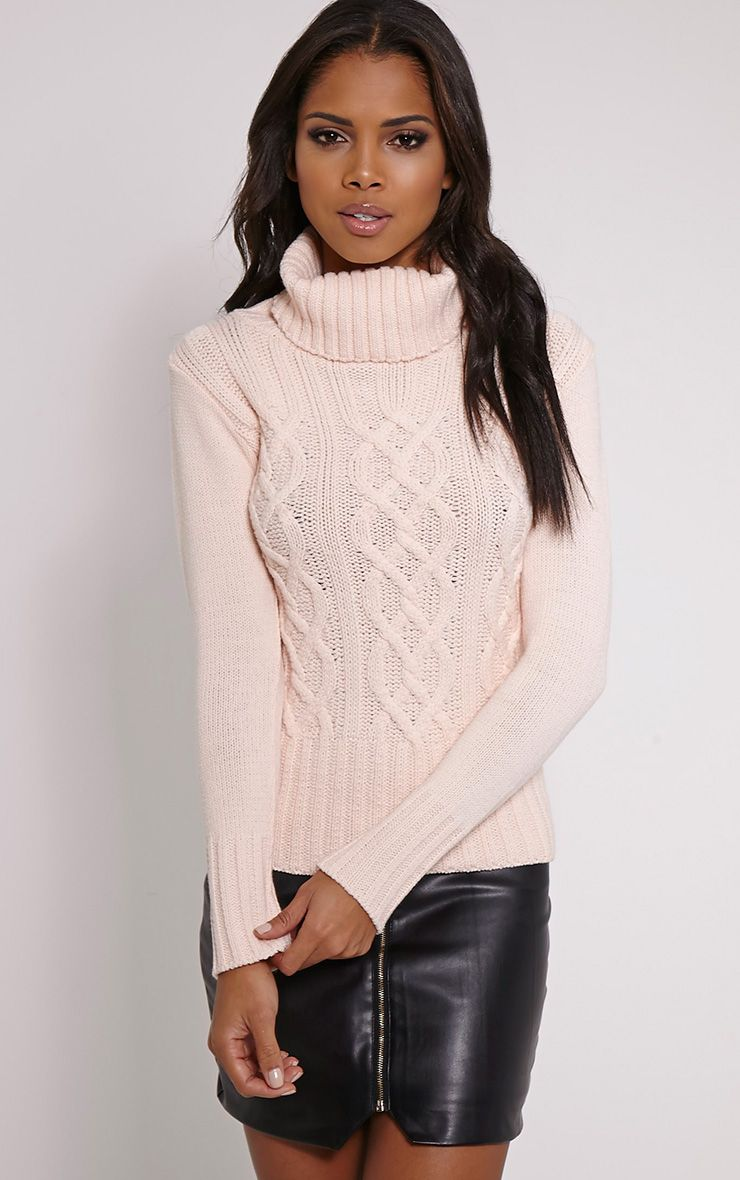 Yonda Blush Roll Neck Knitted Jumper 1