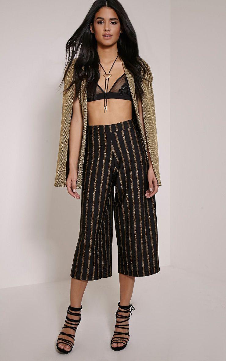 Sheri Black Pinstripe Culottes 1