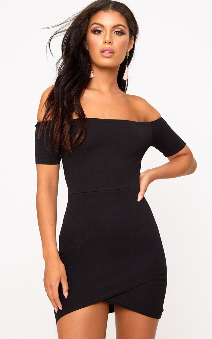 Black Bardot Wrap Skirt Bodycon Dress