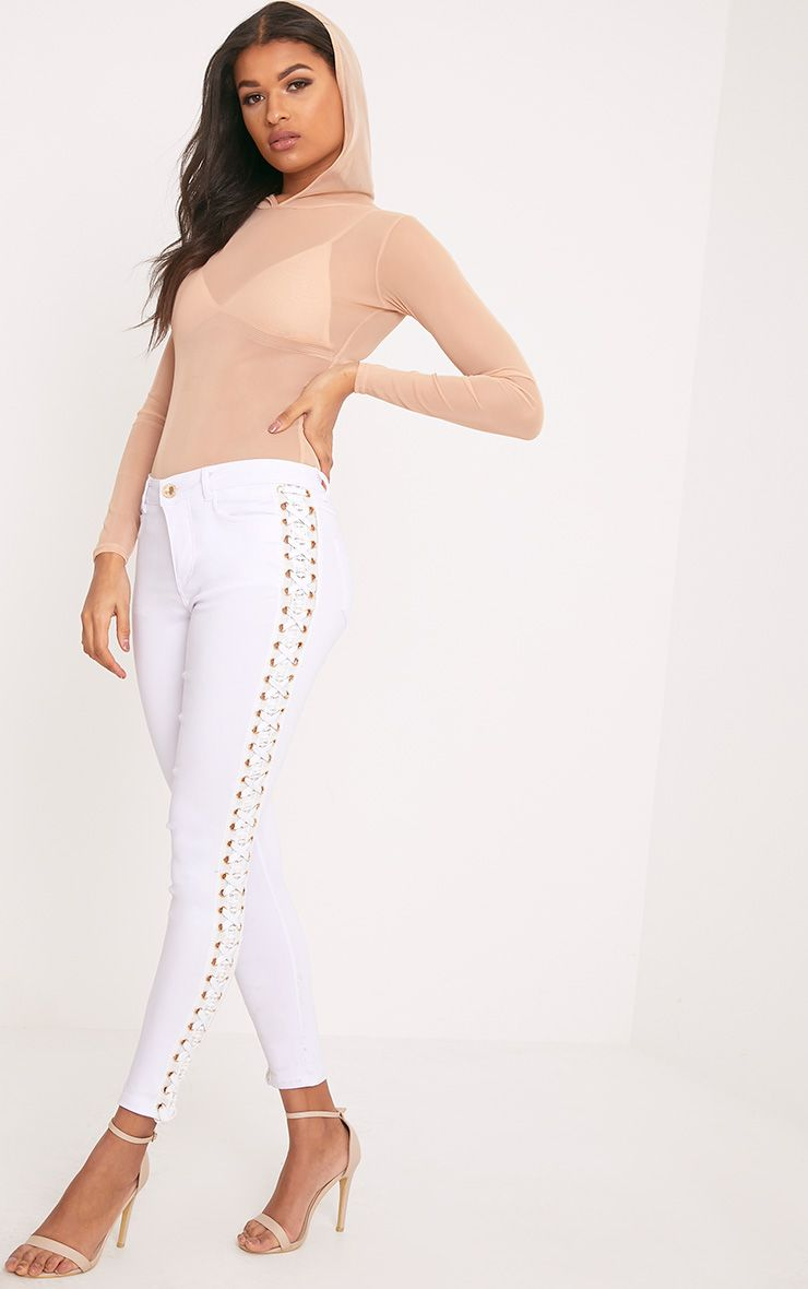 Arietta White Eyelet Lace Up Stretch Trouser