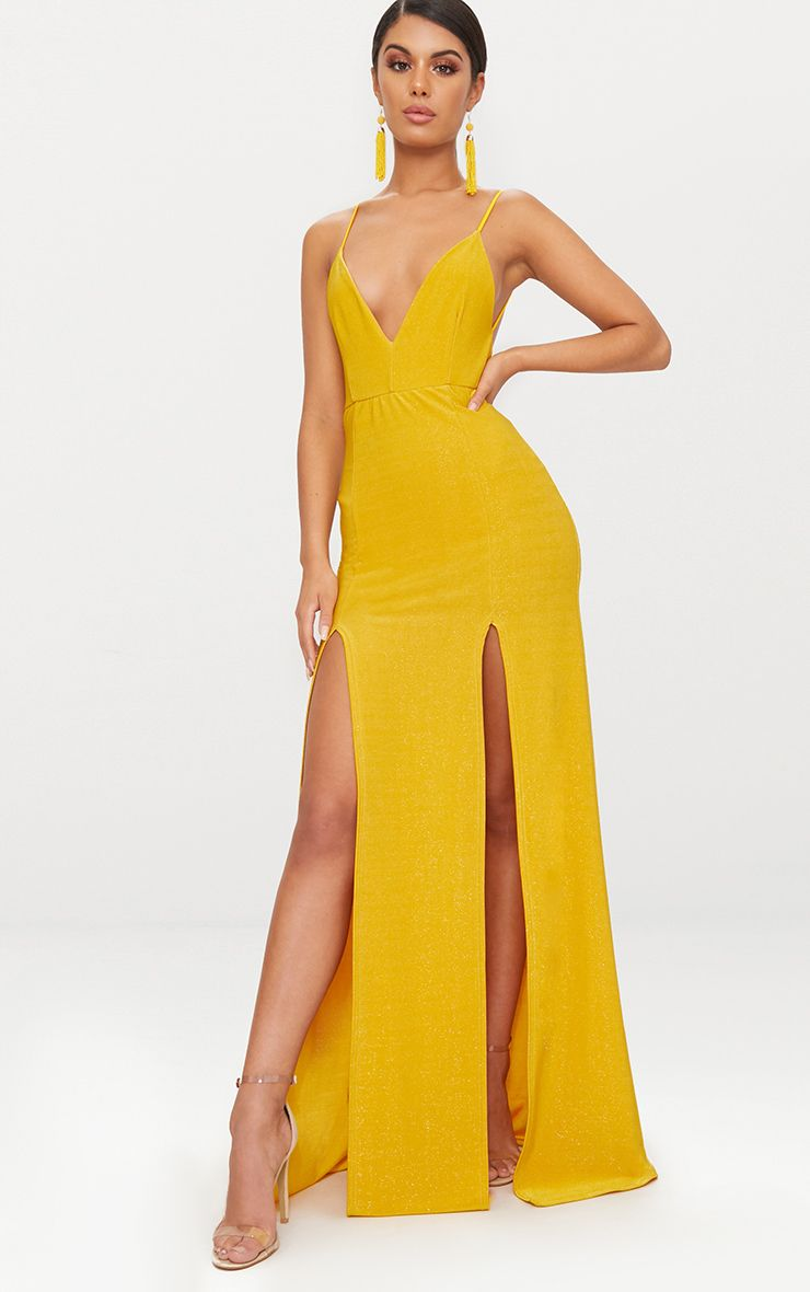 YELLOW STRAPPY PLUNGE DOUBLE SPLIT DETAIL MAXI DRESS