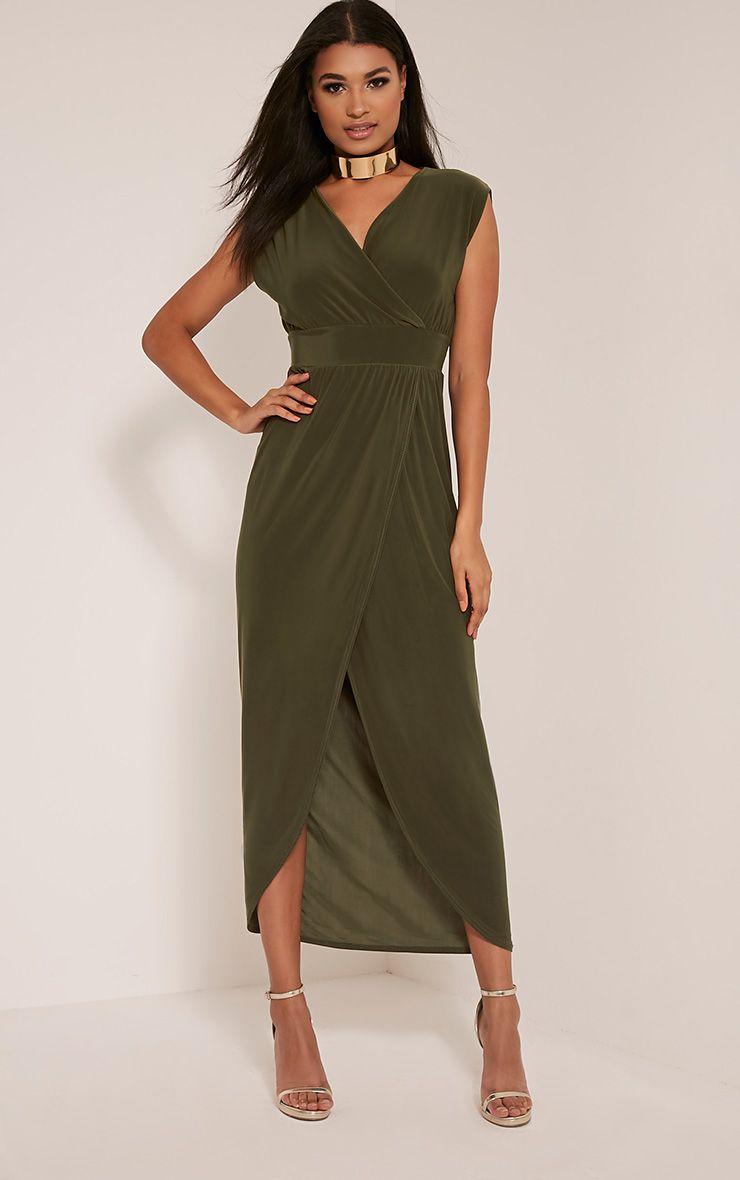 Marlisa Khaki Slinky Plunge Maxi Dress 1