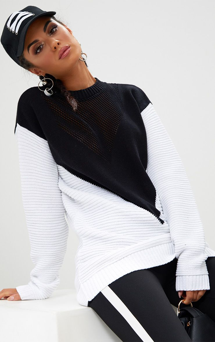 Black Colourblock Open Weave Jumper