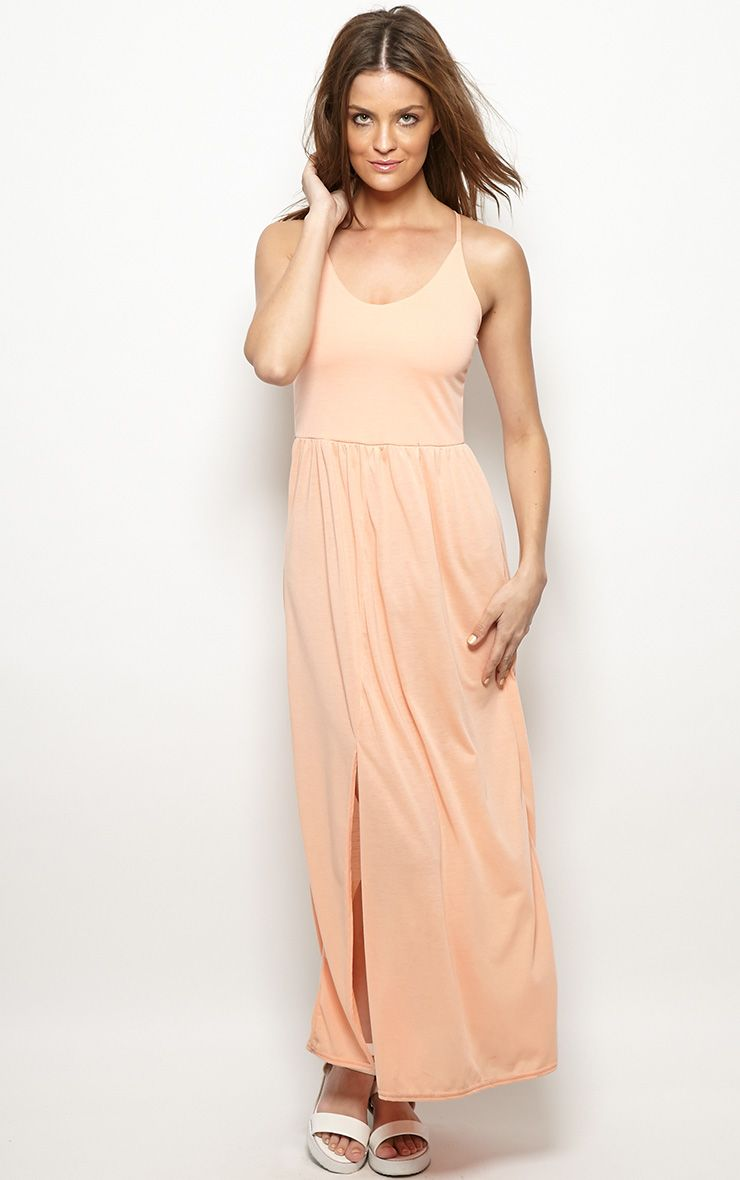 Mabel Peach Strap Detail Maxi Dress 1