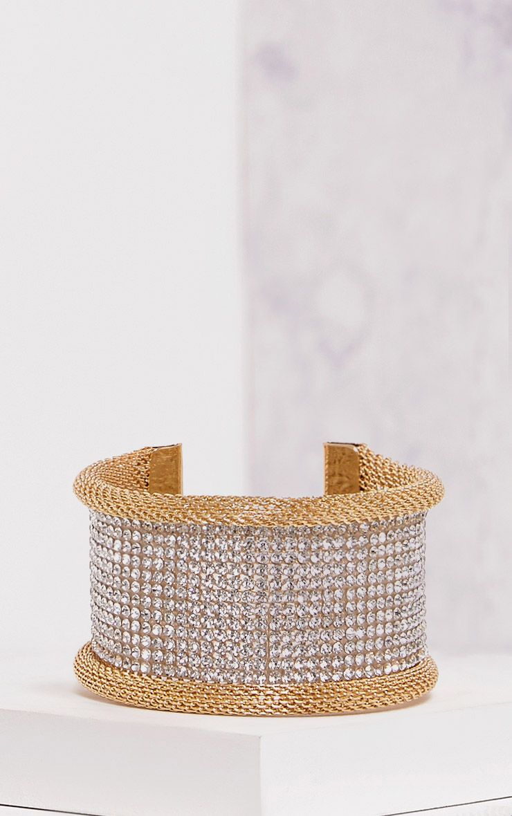 Cisi Gold Glitter Diamante Cuff