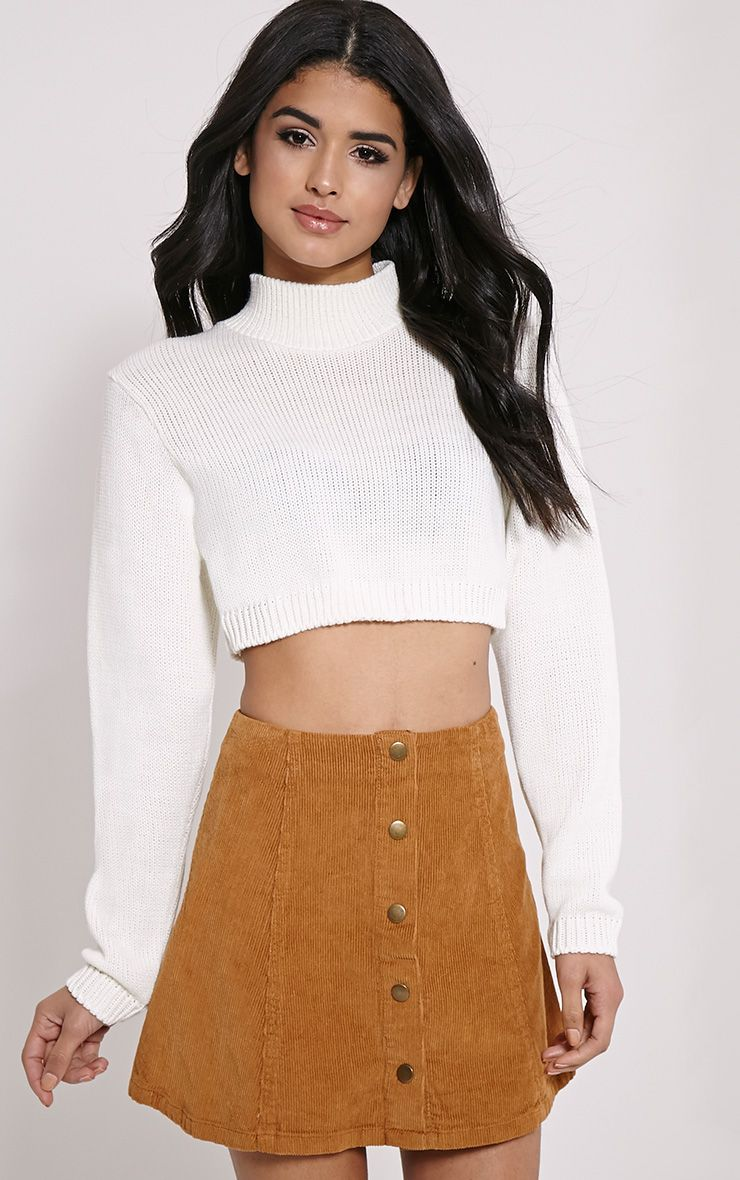 Zuly Cream Cropped Knitted Jumper