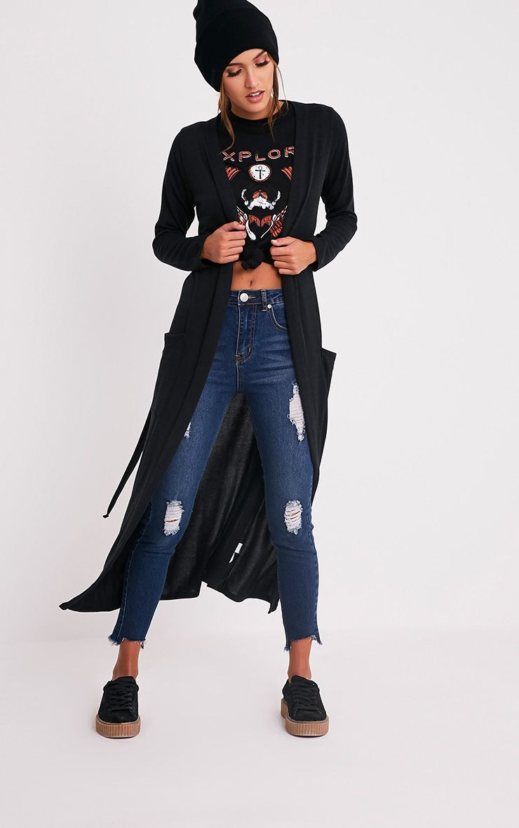 Liona cardigan maxi avec ceinture noir 1