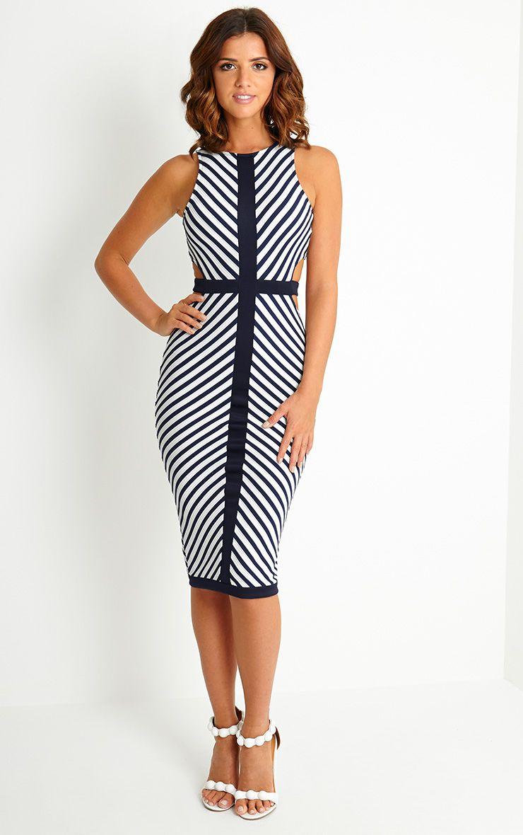 Lyla Stripe Cut Out Midi Dress 1