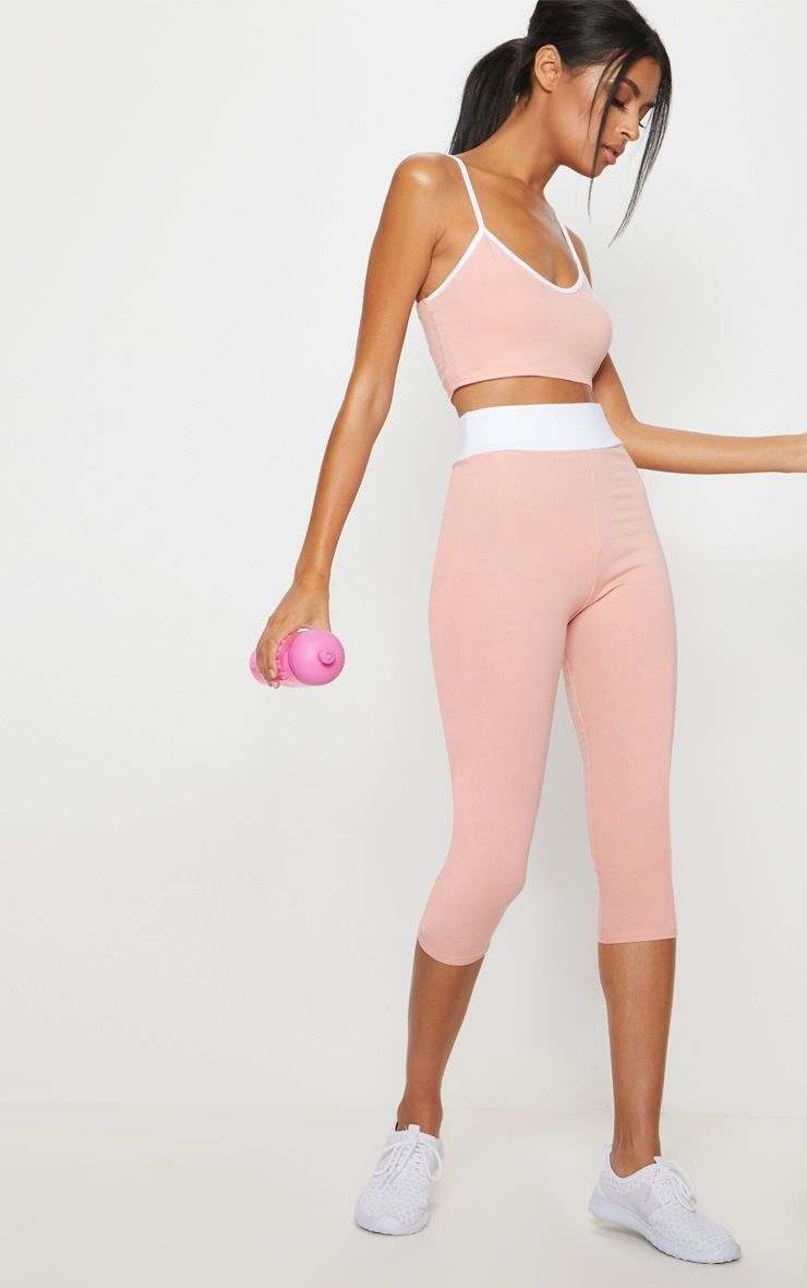 Pink Contrast 3/4 Sports Leggings