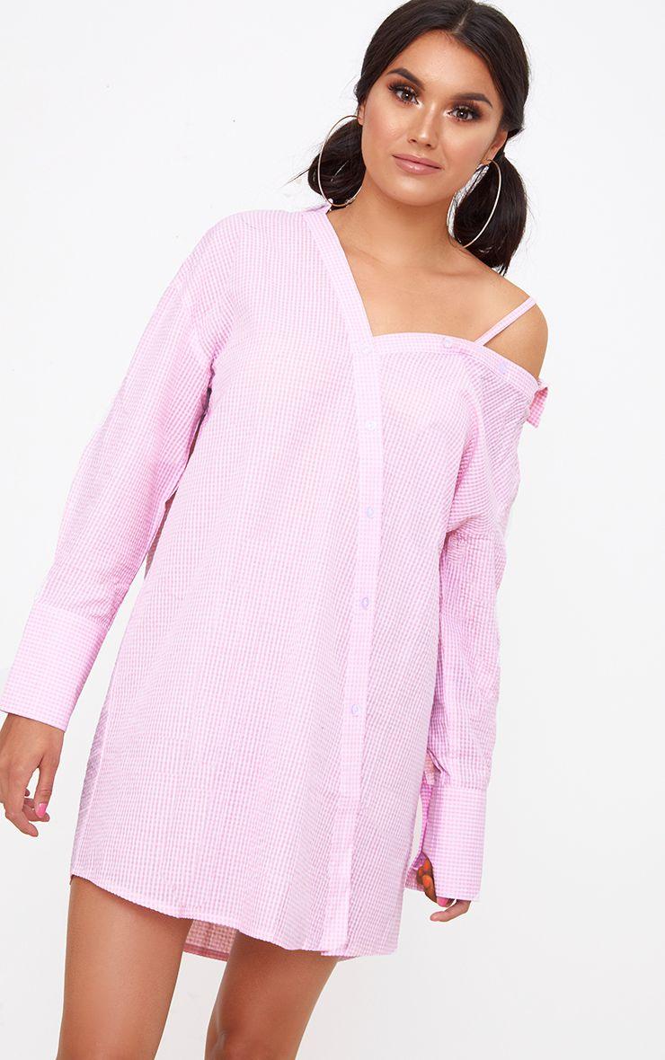 Pink Asymmetric Shirt Dress