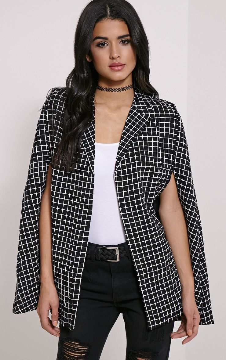 Adele Black Monochrome Check Cape 1