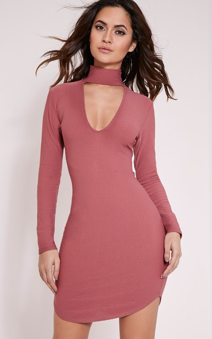 Arianna Rose Crepe Choker Detail Bodycon Dress 1