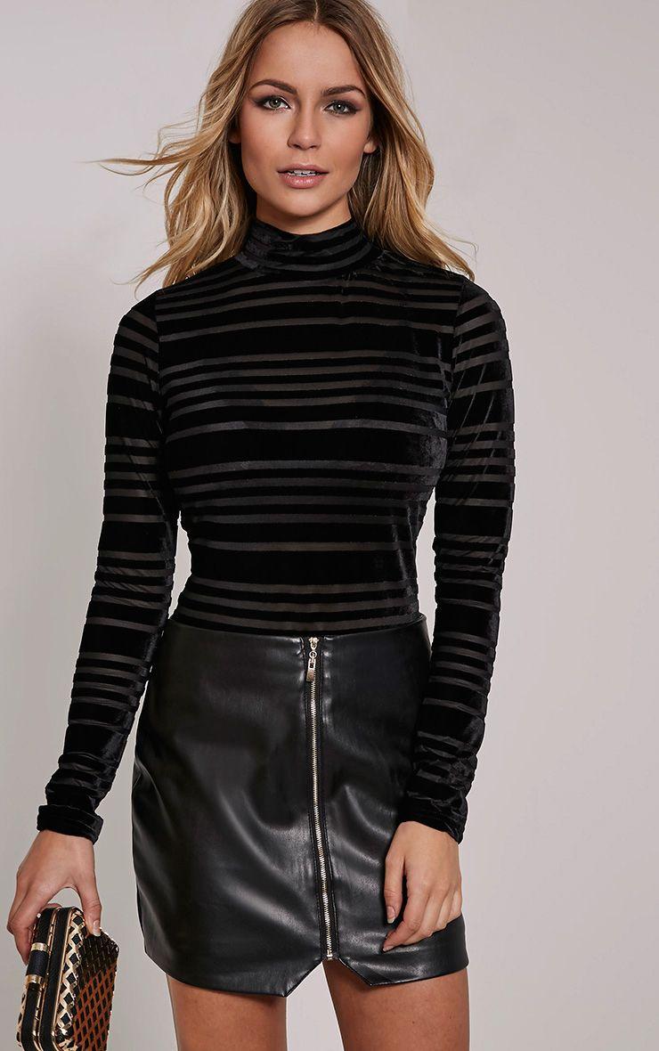 Fiona Black Velvet Mesh Stripe Long Sleeve Bodysuit 1
