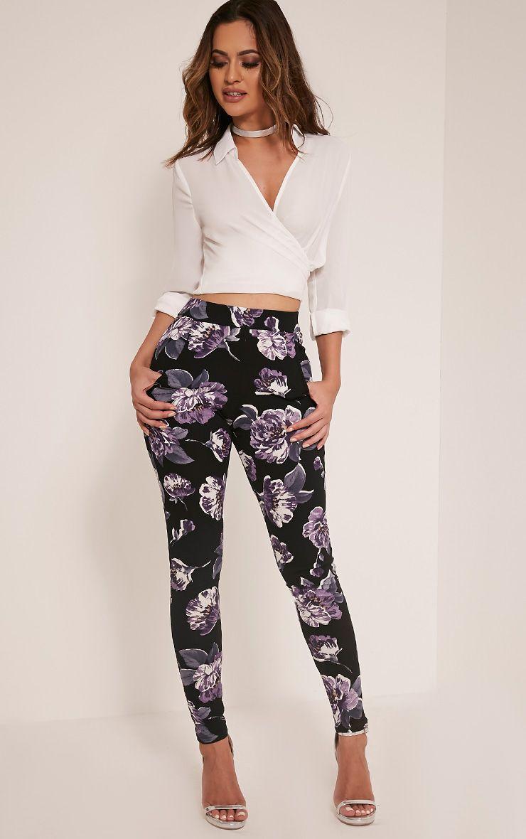 Erinna Purple Floral Crepe Cigarette Trousers 1