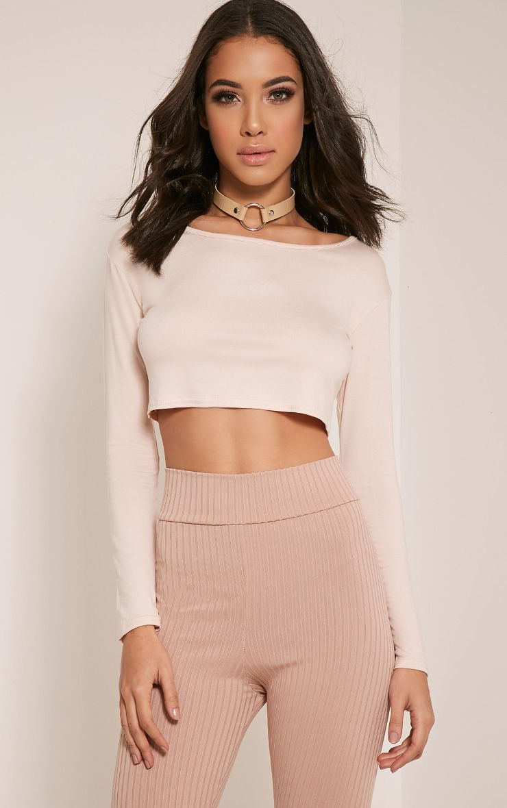 Basic Nude Long Sleeve Crop Top