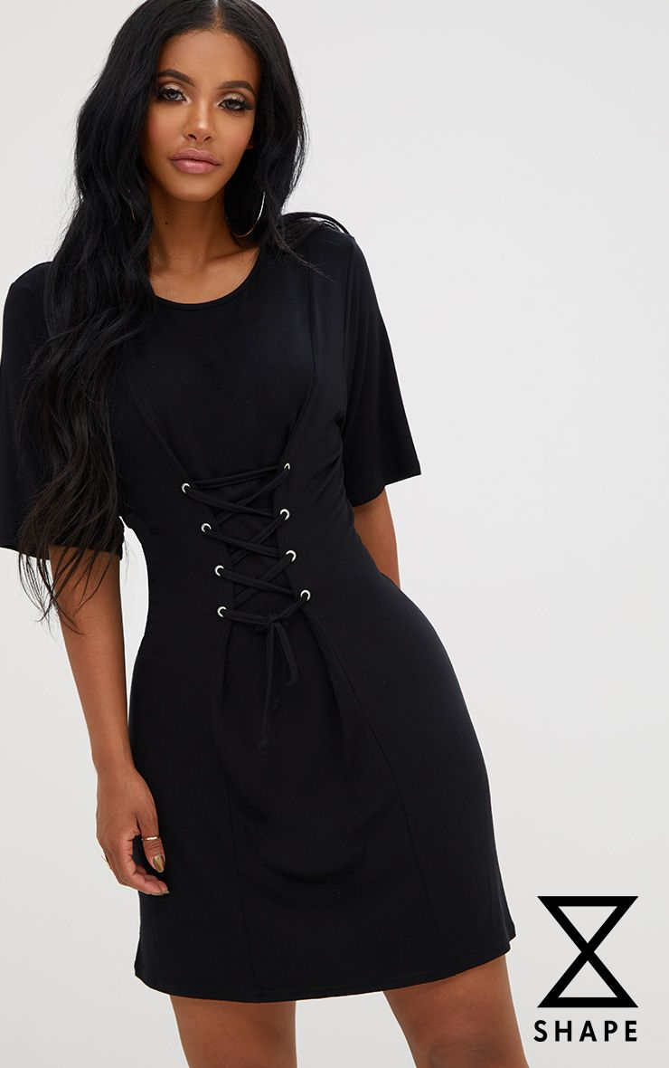 Shape Black Lace Up Front T-Shirt Dress