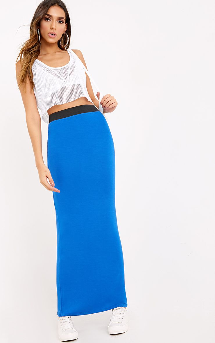 Basic Colbalt Maxi Skirt