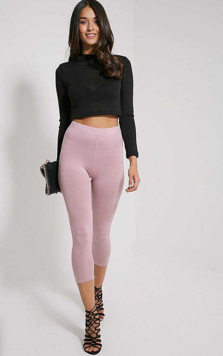 Basic Mauve Cropped Jersey Leggings 1