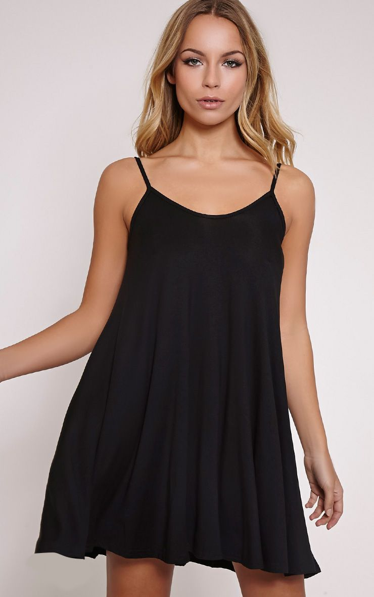 Basic Black Strappy Jersey Swing Dress 1