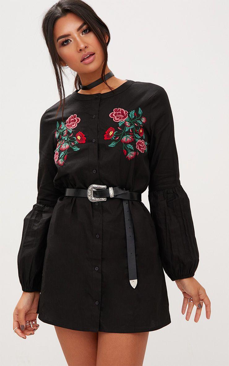 Black Embroidered Long Sleeve Shirt Dress  1
