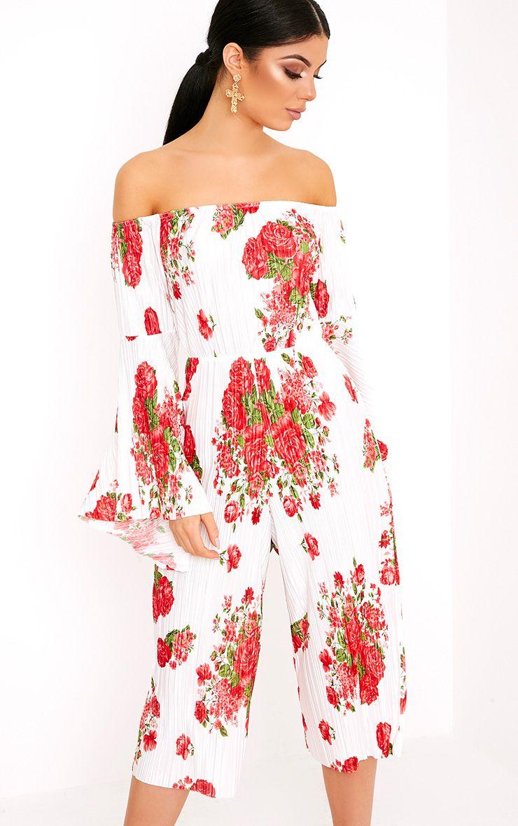 Delilah Floral Bardot Flare Sleeve Jumpsuit