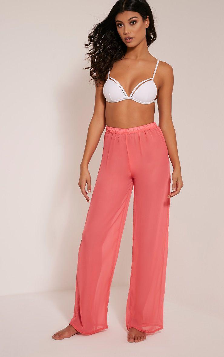 Ashlyne Coral Chiffon Beach Trousers