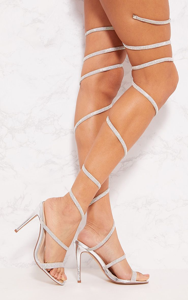 Silver Leg Wrap Thigh High Diamante Sandal