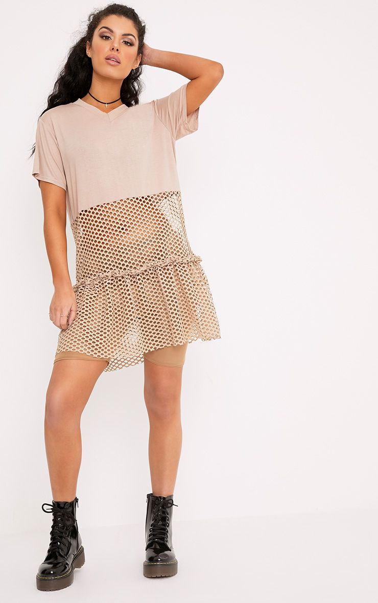 Maggie Nude Fishnet Drop Hem T Shirt Dress