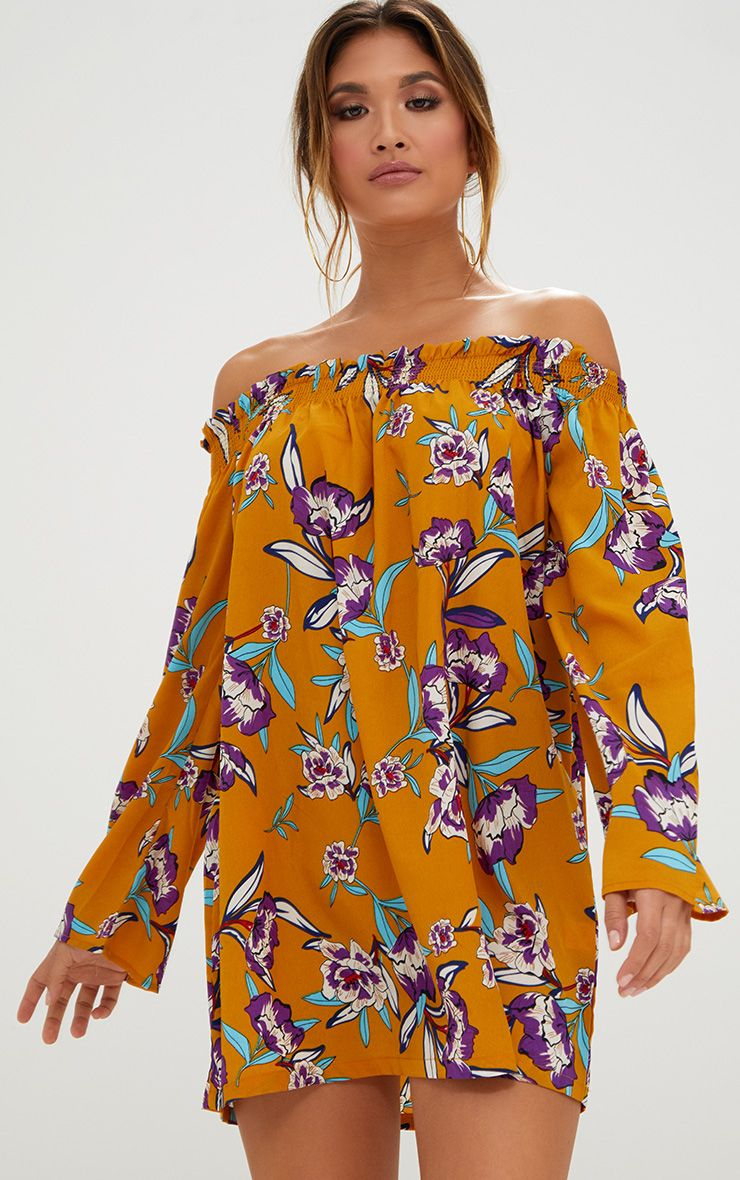Mustard Floral Printed Bardot Dress