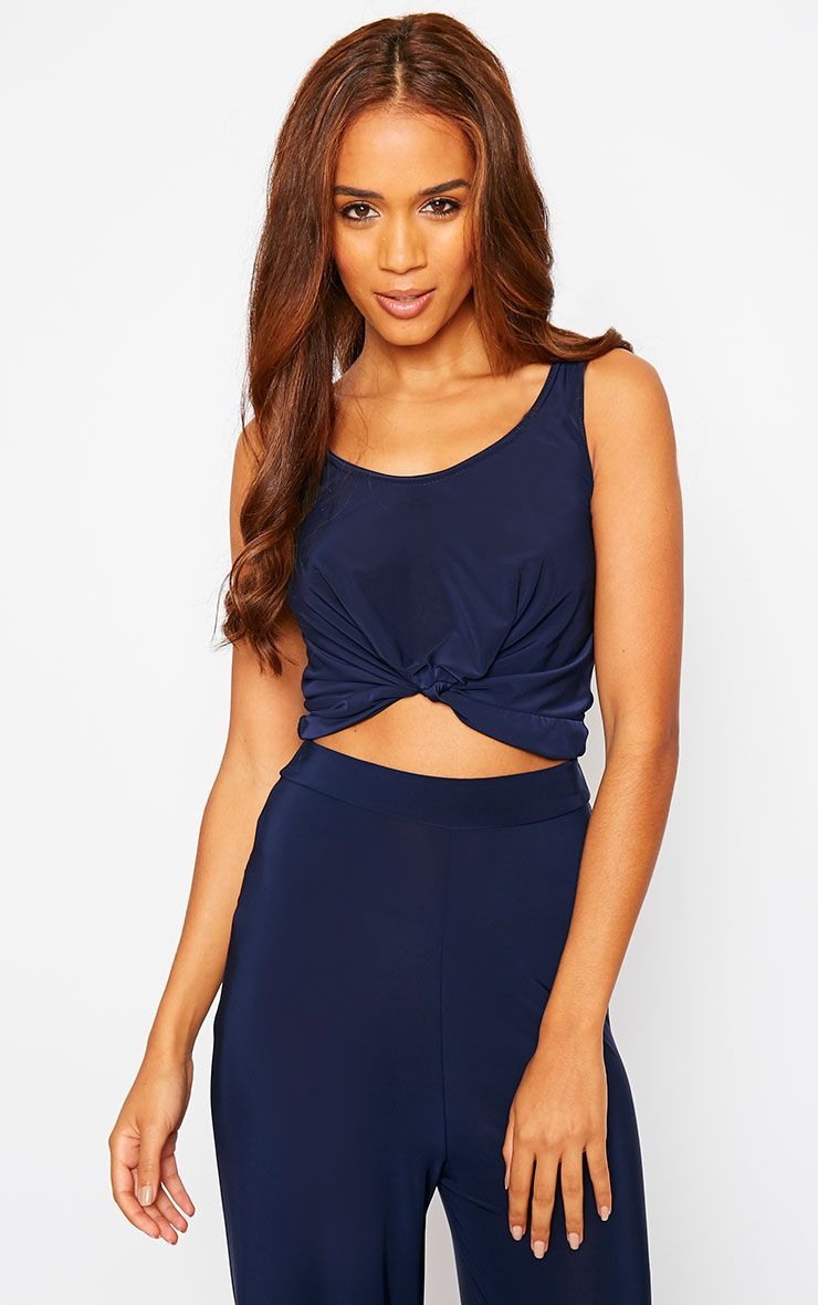Zuri Navy Crepe Sleeveless Knot front Crop Top 1