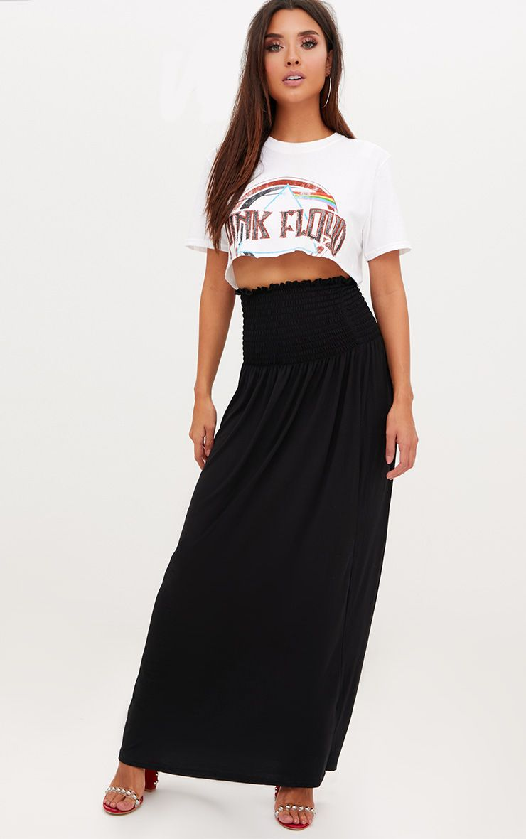 Black Shirred Waist Maxi Skirt