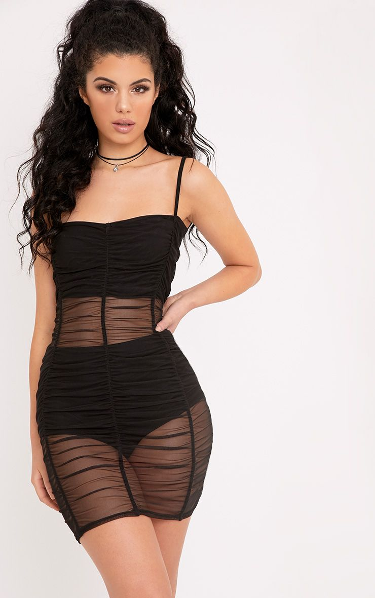 Anya Black Mesh Mini Dress