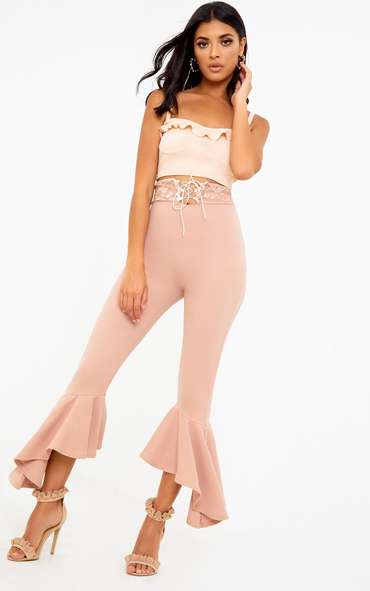 Nude Corset Waist Asymmetric Flare Trousers