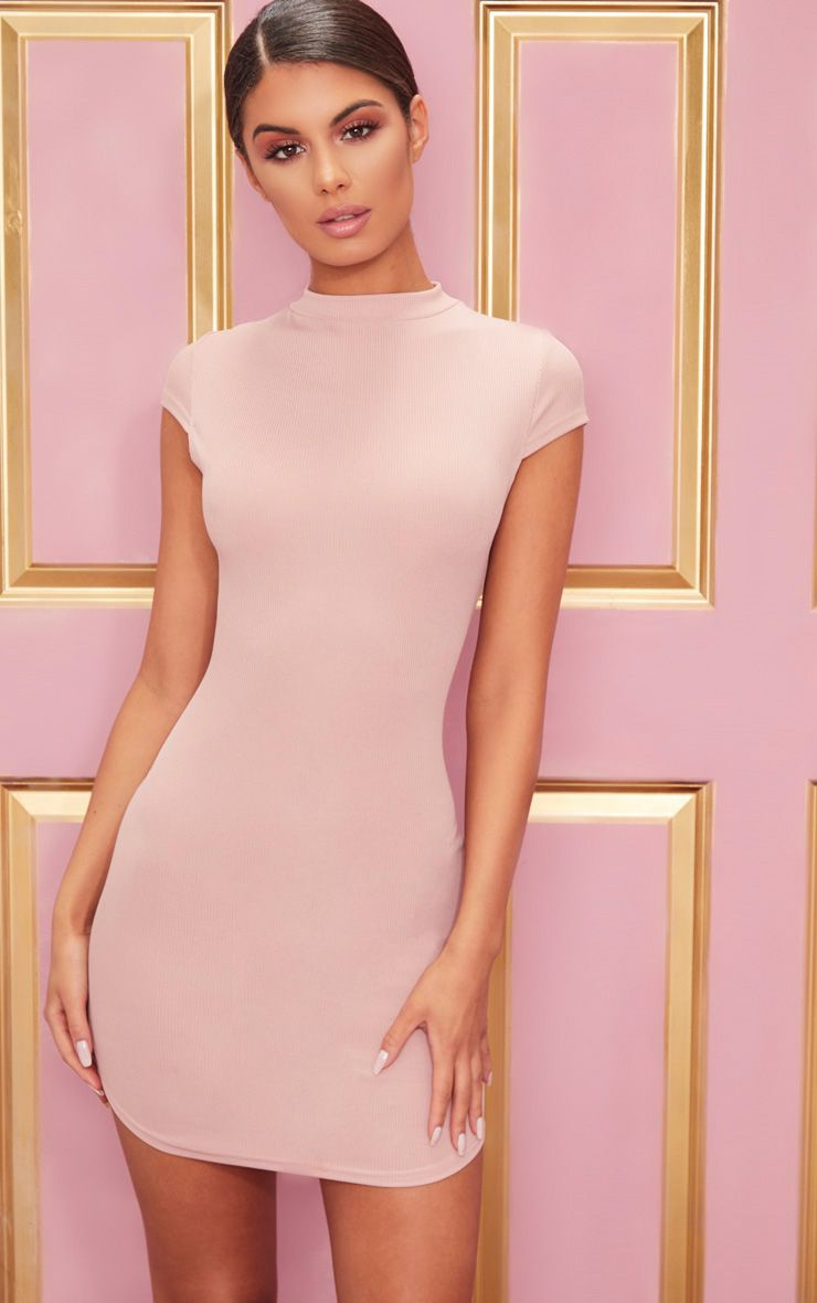 Rose High Neck Ribbed Bodycon Dress