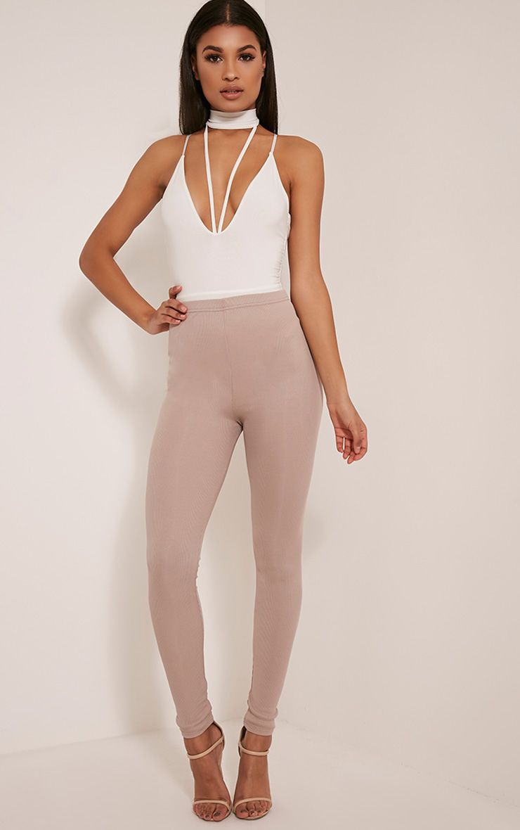Stephie Mink Ribbed High Waisted Leggings 1