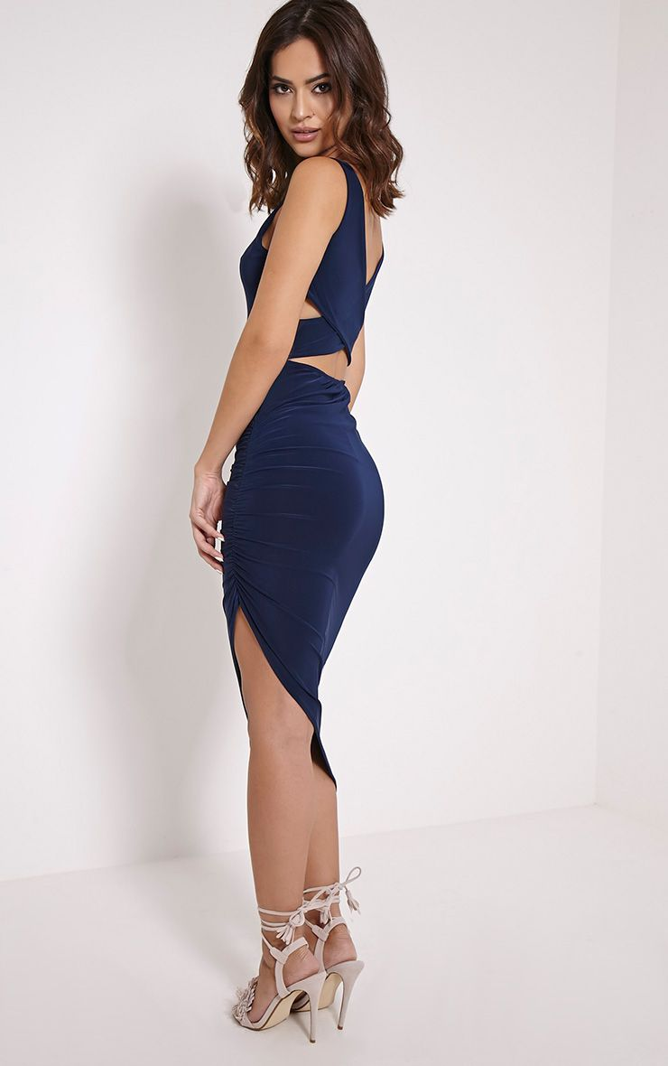 Carmen Navy Cross Back Ruched Midi Dress