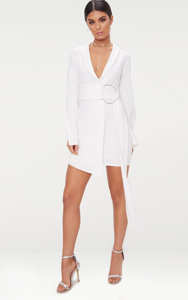 White Oversized Ring Detail Blazer Dress