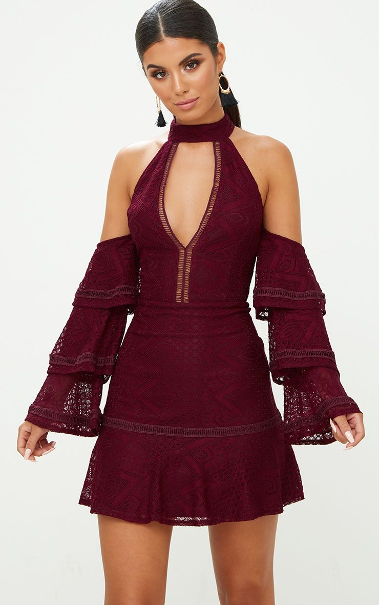 Wine Lace Cold Shoulder Frill Sleeve Shift Dress