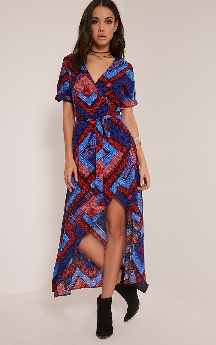 Renesmee Blue Tribal Print Wrap Maxi Shirt Dress 1