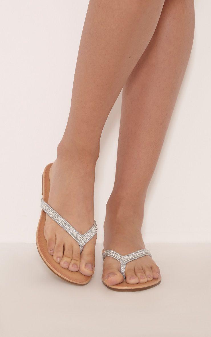 Lainy Silver Embellished Flip Flops 1