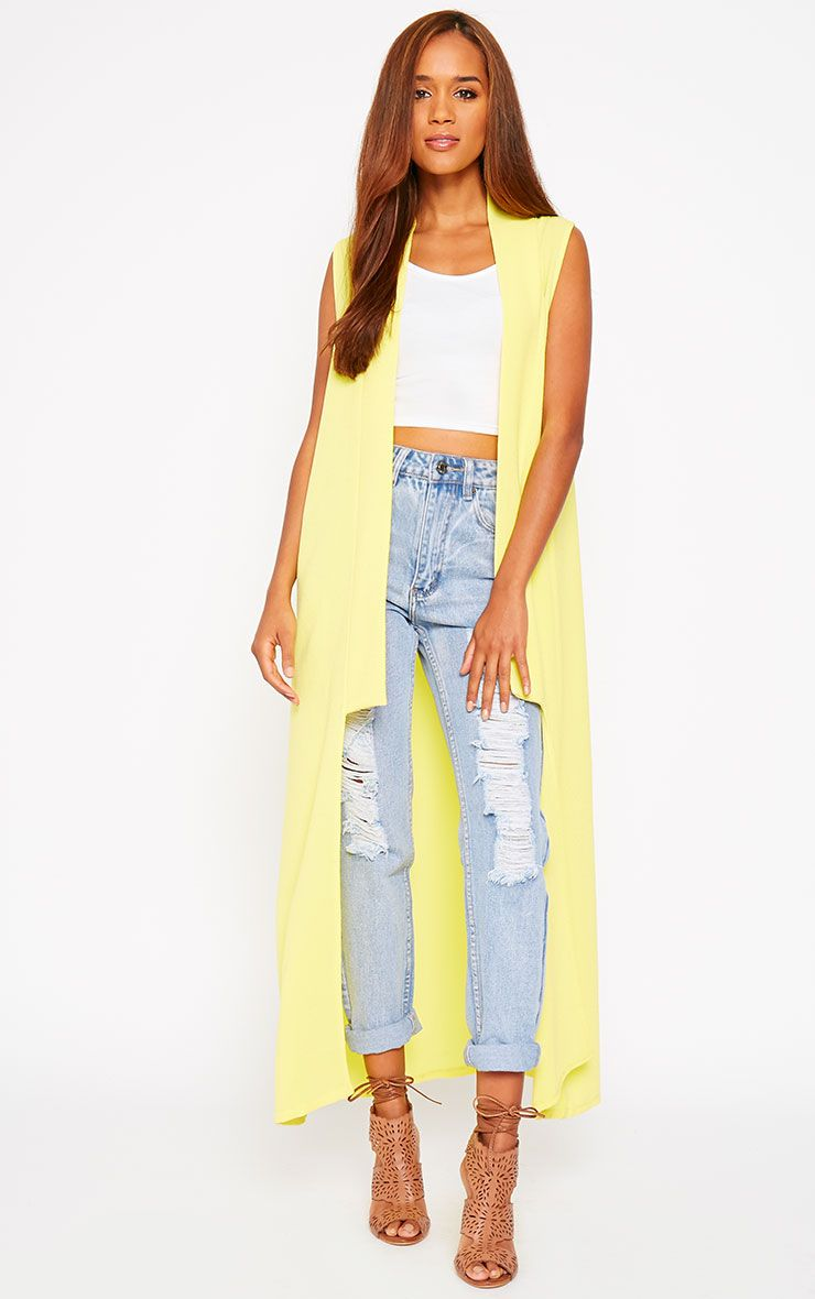 Georgena Yellow Sleeveless Duster Coat 1