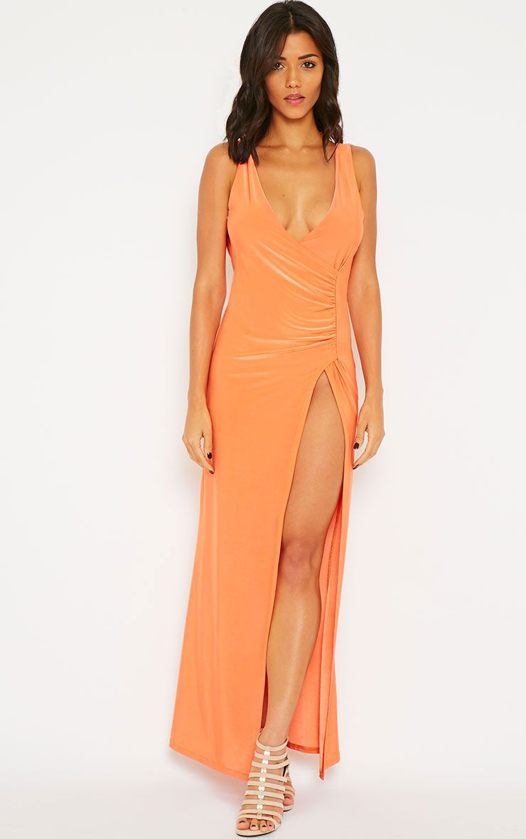 Dita Coral Slinky Extreme Gathered Split Maxi Dress 1
