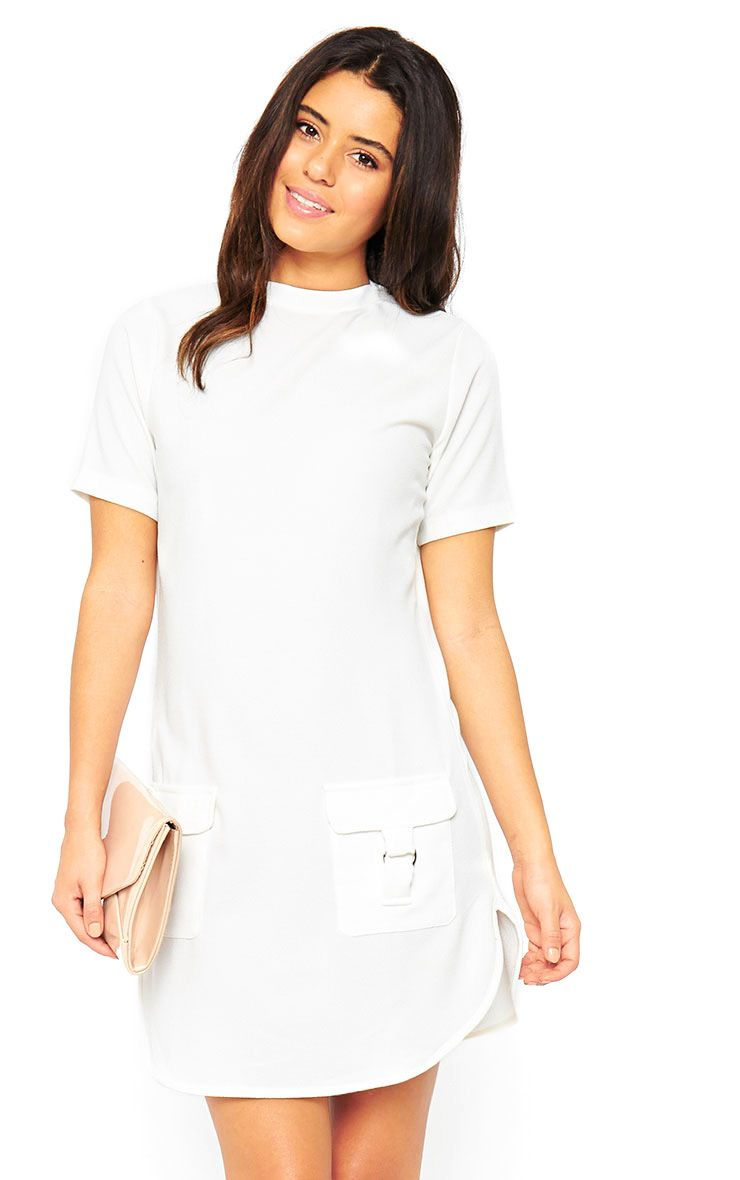 Anastasia Cream Pocket Front Shift Dress 1