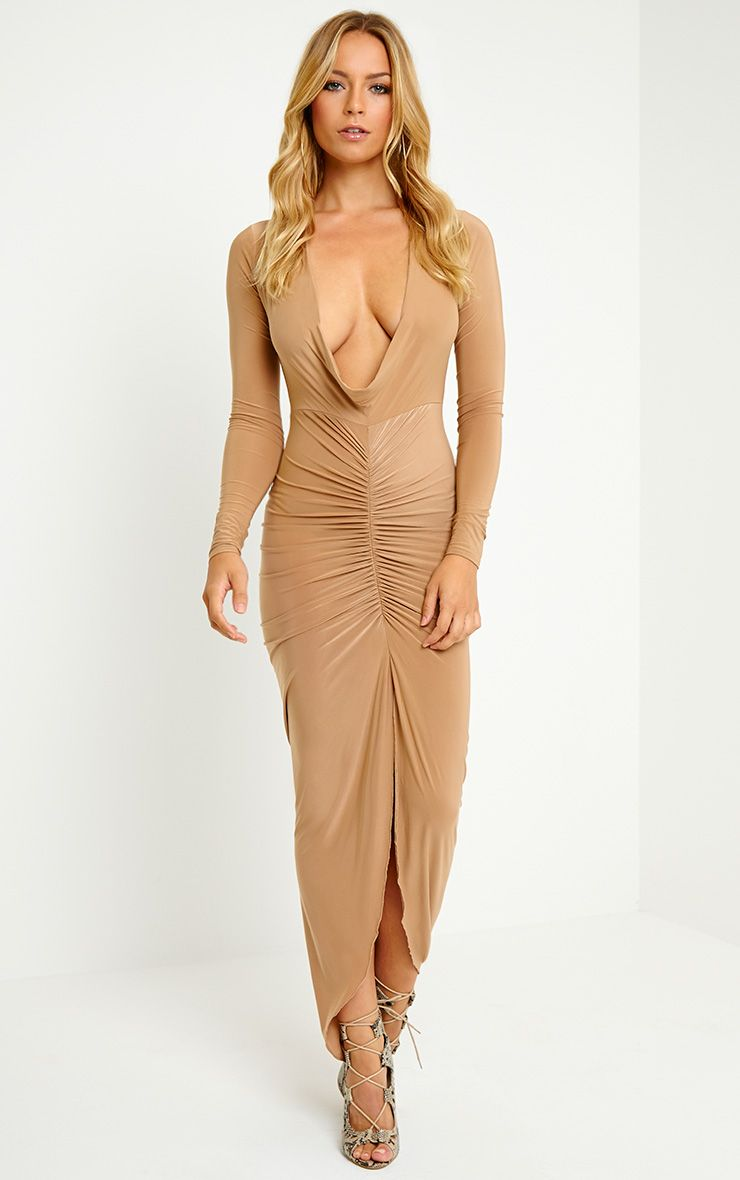 Ellie Camel Crepe Ruched Maxi Dress 1