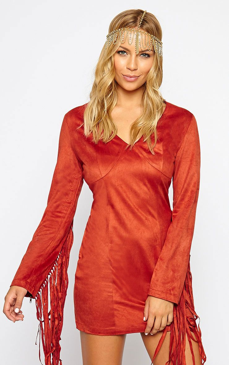 Nexie Rust Suede Fringe Dress