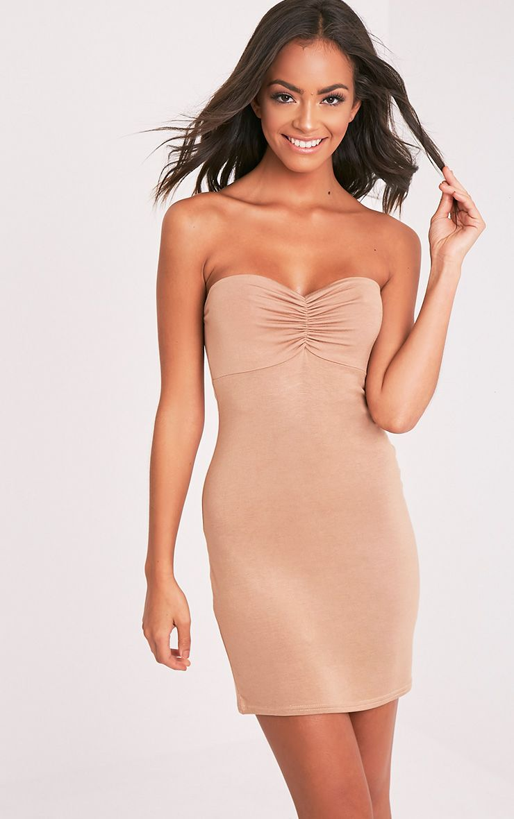 Leanna Camel Jersey Bandeau Bodycon Dress