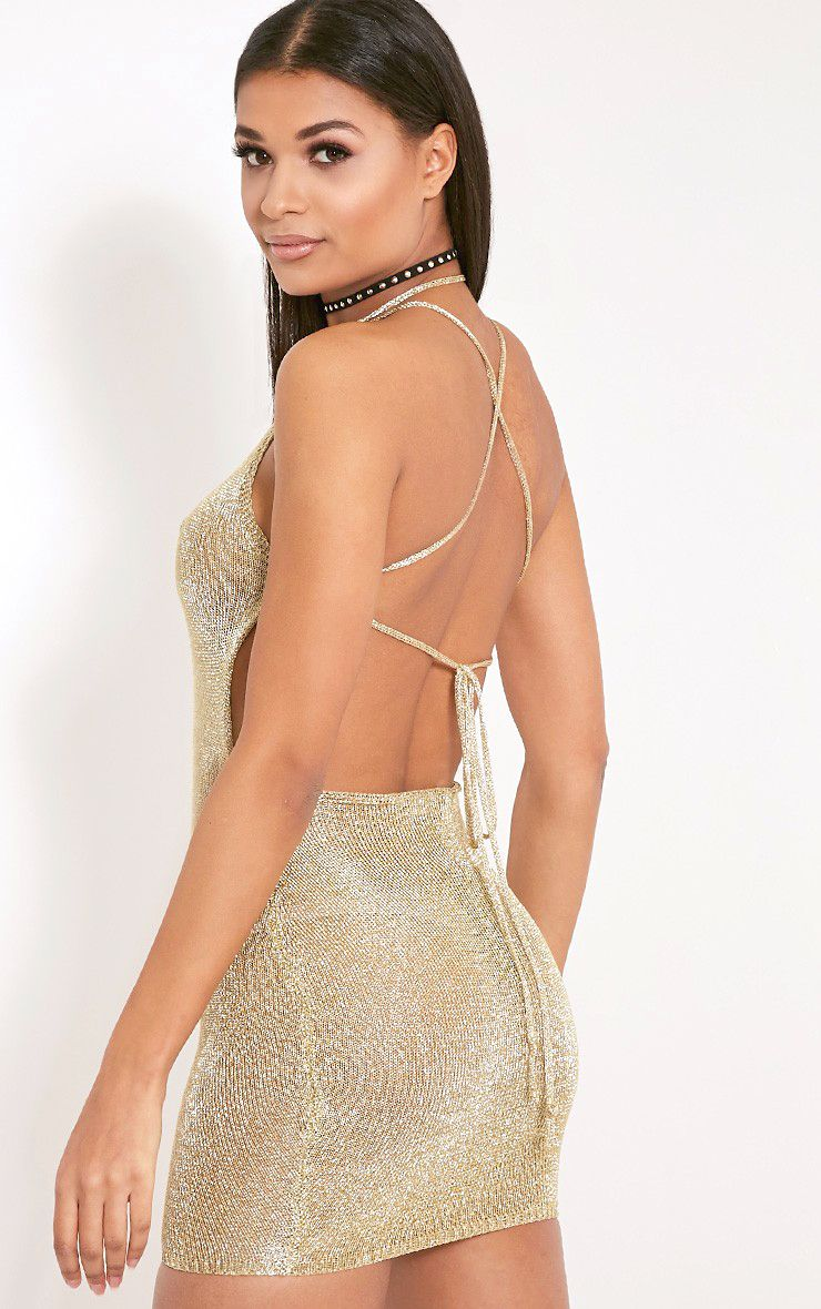 Charlay Gold Sheer Metallic Knitted Halterneck Dress