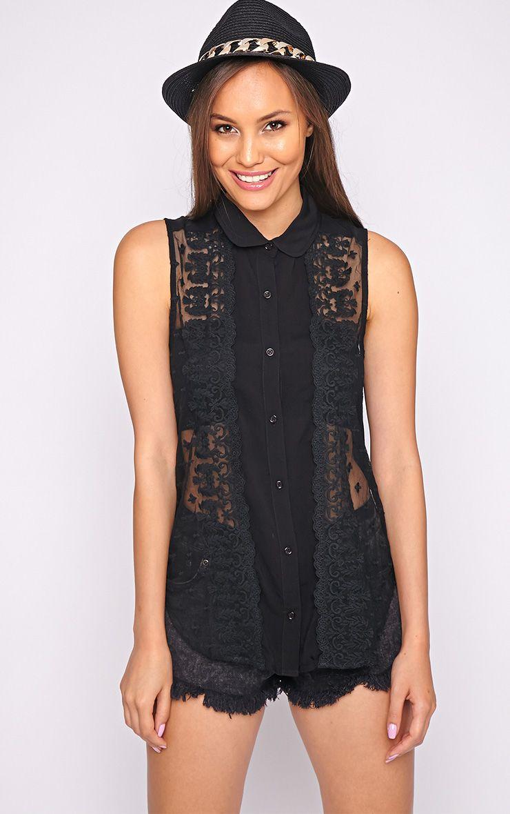 Alisha Black Lace Front Sleeveless Shirt  1